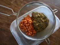Straining lentils and beans