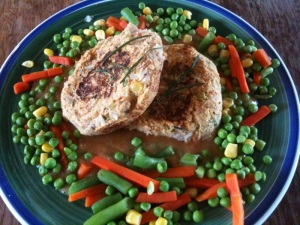 Bean patties with mixed vegetables